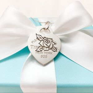 Tiffany & Co. RTT Etched Rose Heart Tag Charm